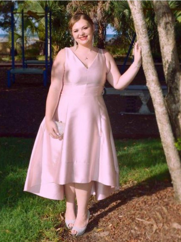 A-Line/Princess V-neck Asymmetrical Satin Plus Size Dresses with Ruched