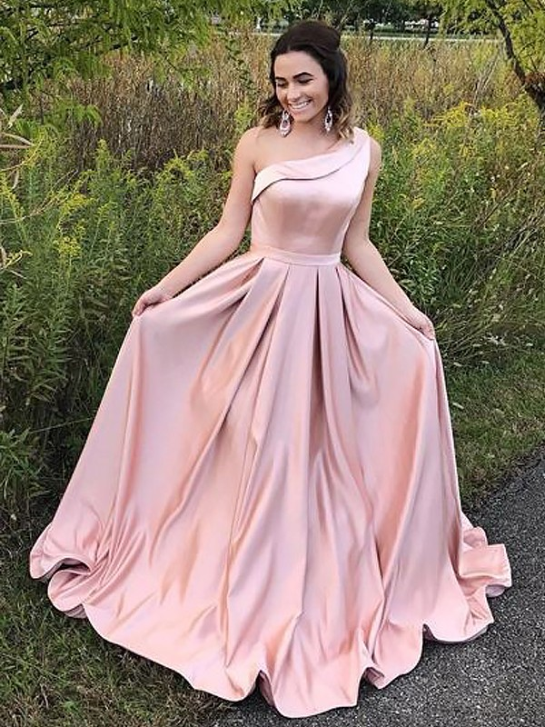 A-Line/Princess One-Shoulder Sweep/Brush Train Satin Dresses with Ruffles