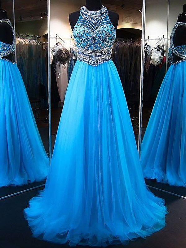 A-Line/Princess Jewel Sweep/Brush Train Tulle Dresses with Beading