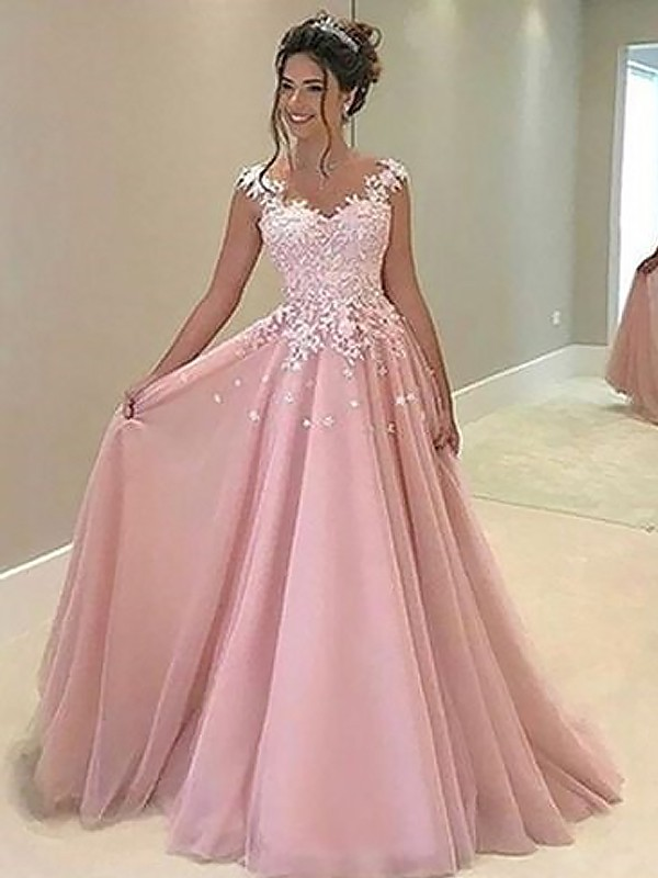 A-Line/Princess Sweetheart Floor-Length Tulle Dresses with Applique