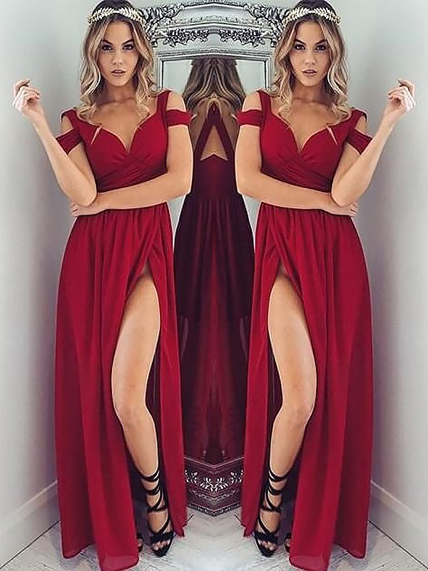A-Line/Princess Off-the-Shoulder Floor-Length Chiffon Dresses with Ruched