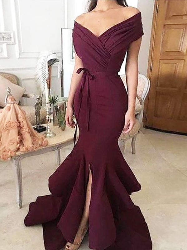 Trumpet/Mermaid Off-the-Shoulder Floor-Length Satin Dresses with Ruched