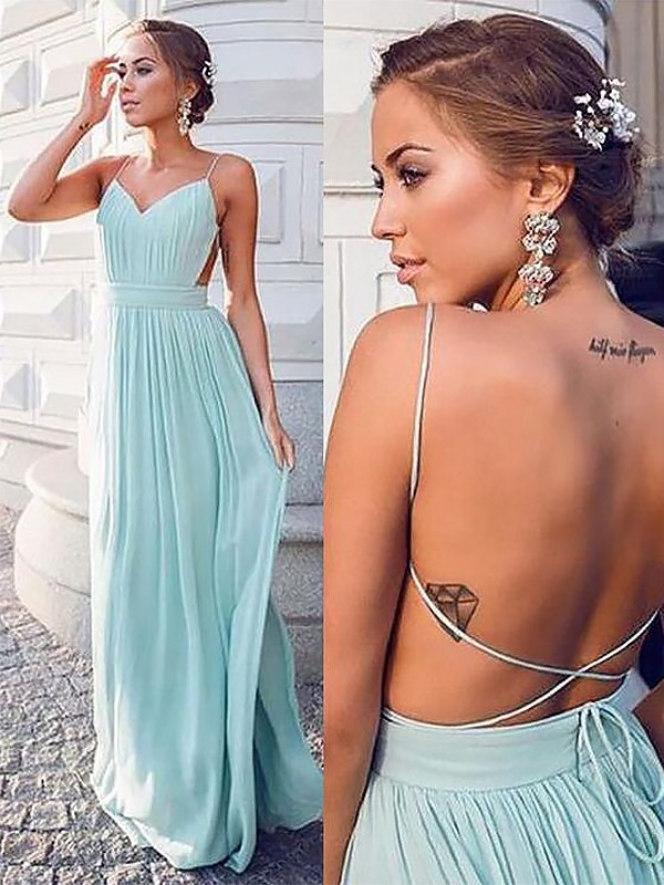A-Line/Princess Spaghetti Straps Floor-Length Chiffon Dresses with Ruched
