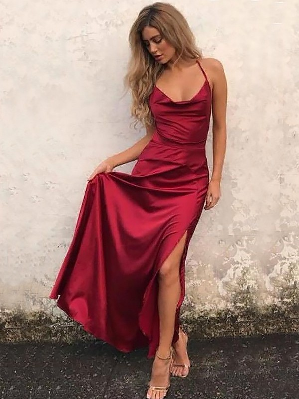 A-Line/Princess Spaghetti Straps Floor-Length Elastic Woven Satin Dresses with Ruffles