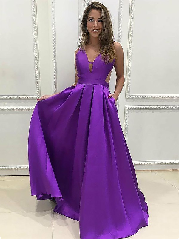 A-Line/Princess V-neck Sweep/Brush Train Satin Dresses with Ruffles