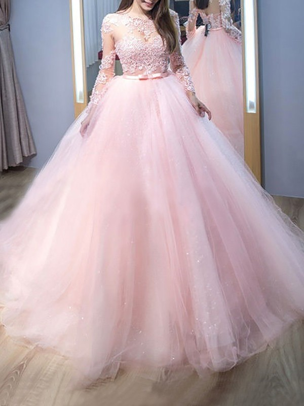 Ball Gown Jewel Sweep/Brush Train Tulle Dresses with Lace