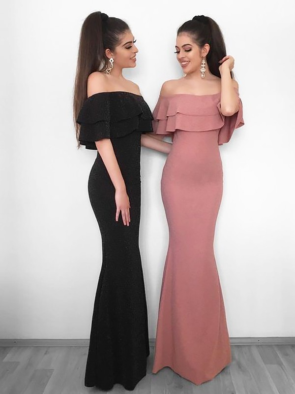 Sheath/Column Off-the-Shoulder Floor-Length Chiffon Dresses with Ruffles