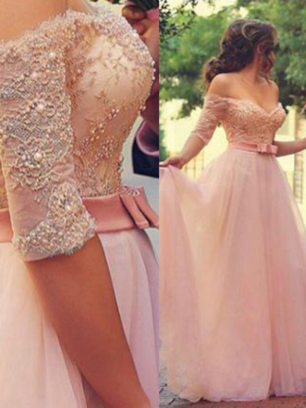A-Line/Princess Off-the-Shoulder Floor-Length Tulle Dresses with Lace