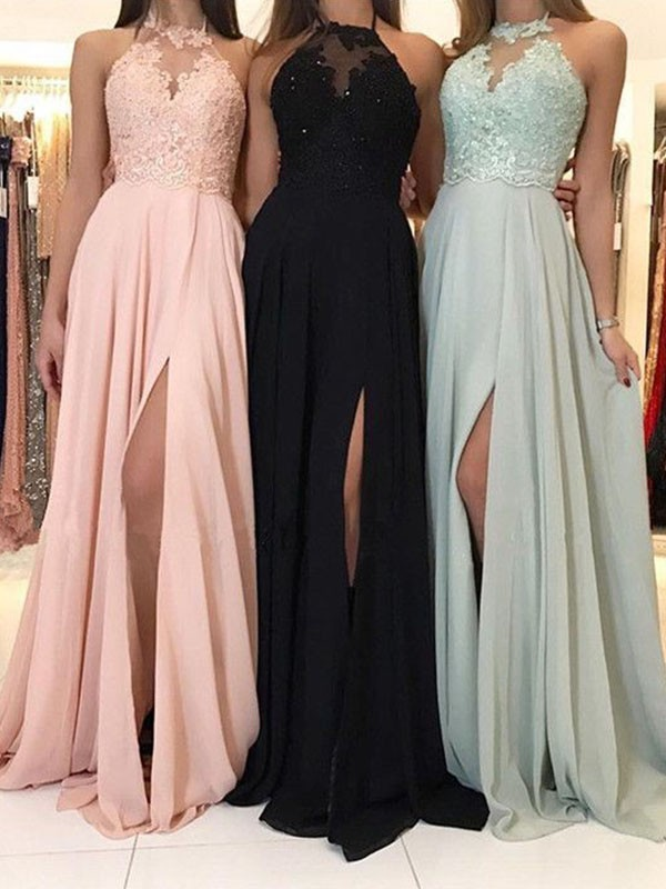 A-Line/Princess Halter Sweep/Brush Train Chiffon Dresses with Applique