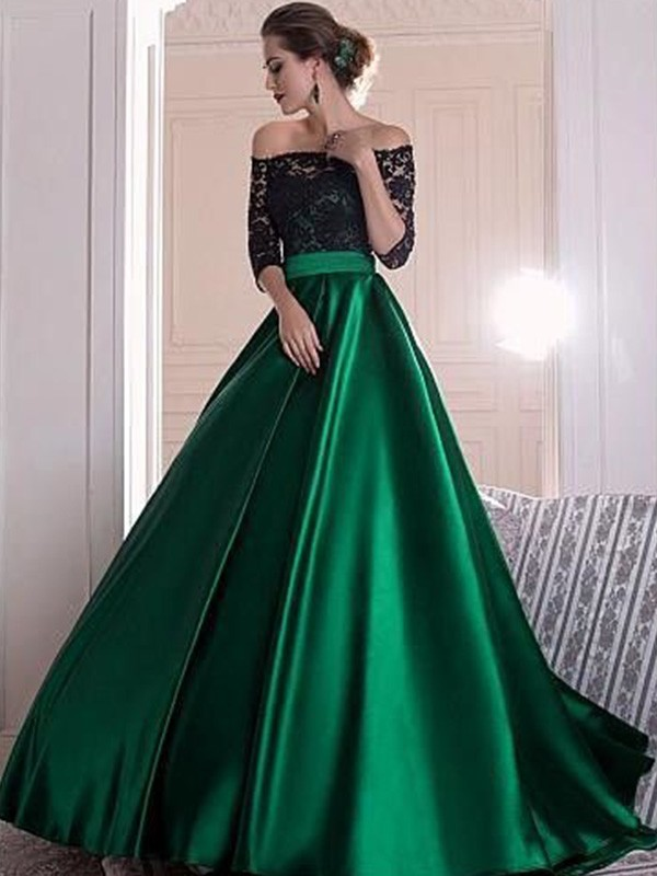 A-Line/Princess Off-the-Shoulder 3/4 Sleeves Lace Sweep/Brush Train Satin Dresses with Ruched