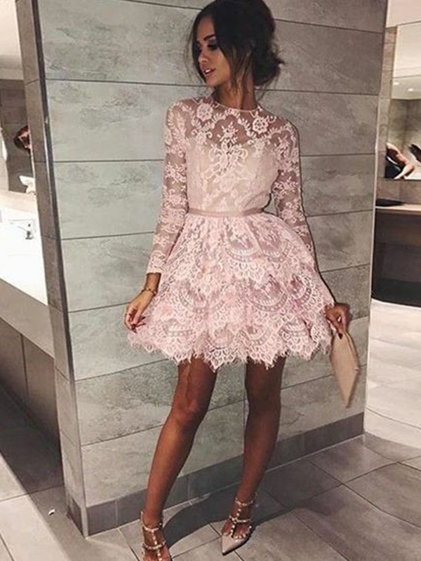 A-Line/Princess Bateau Short/Mini Lace Dresses with Beading