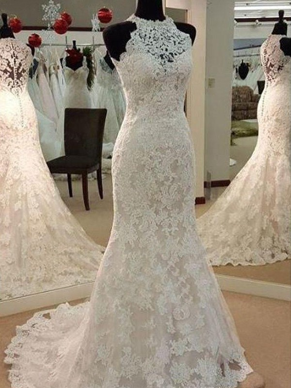 Sheath/Column Scoop Sweep/Brush Train Lace Wedding Dresses with Applique