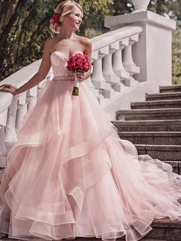 Ball Gown Sweetheart Court Train Layers Organza Wedding Dresses