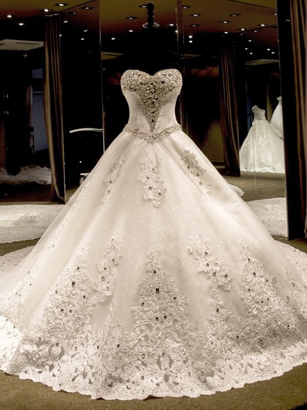 Ball Gown Sweetheart Cathedral Train Sequin Tulle Wedding Dresses with Applique