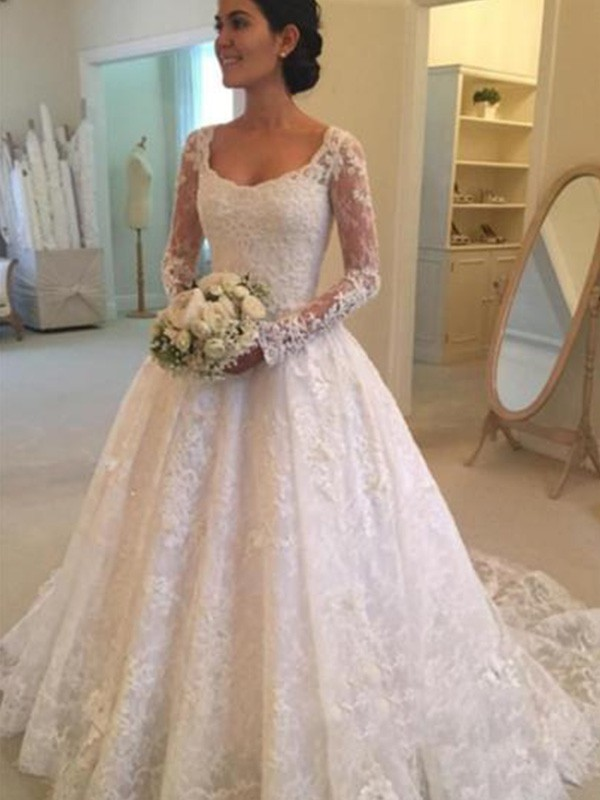Ball Gown Scoop Cathedral Train Wedding Dresses with Lace with Ruffles