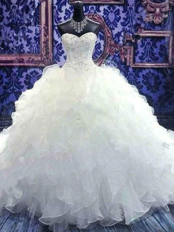 Ball Gown Sweetheart Chapel Train Sequin Organza Wedding Dresses with Beading