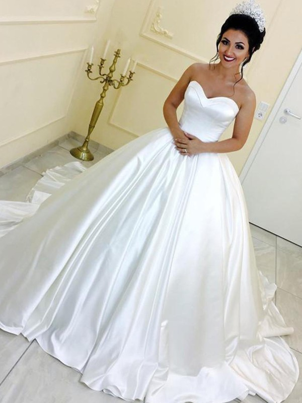 Ball Gown Sweetheart Satin Cathedral Train Wedding Dresses with Sash/Ribbon/Belt