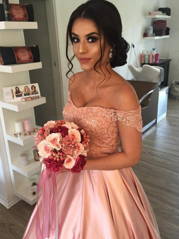 Ball Gown Off-the-Shoulder Satin Cathedral Train Wedding Dresses with Ruffles