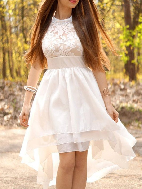 A-Line/Princess Chiffon Halter Asymmetrical Wedding Dresses with Ruched