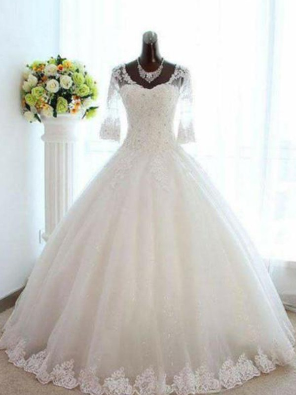 Ball Gown V-neck Tulle Bateau Floor-Length Wedding Dresses with Beading
