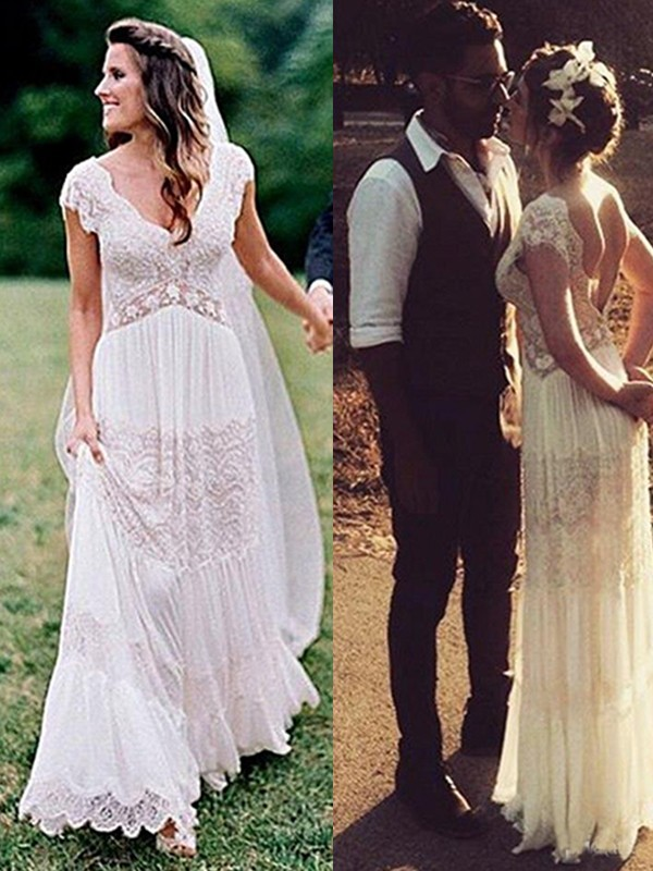 A-Line/Princess V-neck Floor-Length Wedding Dresses with Lace with Ruched