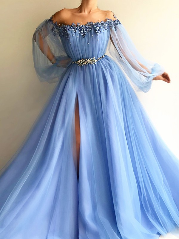 A-Line/Princess Off-the-Shoulder Tulle Floor-Length Dresses with Beading