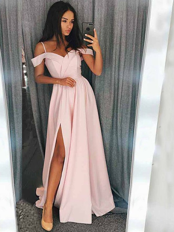 A-Line/Princess Off-the-Shoulder Sweep/Brush Train Satin Dresses with Ruffles