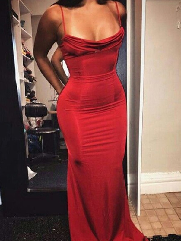 Sheath/Column Spaghetti Straps Floor-Length Spandex Dresses with Ruffles