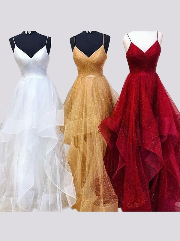 A-Line/Princess Spaghetti Straps Floor-Length Organza Dresses with Ruffles