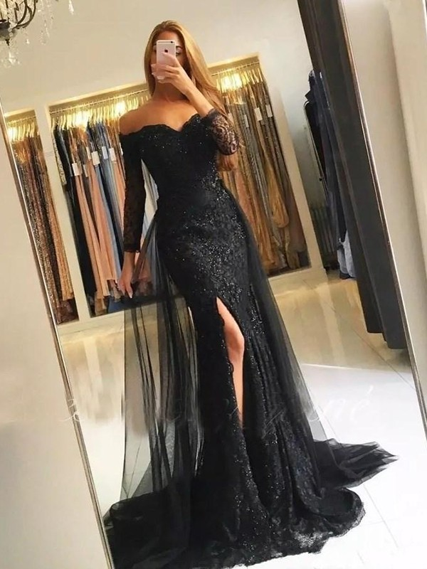 Trumpet/Mermaid Off-the-Shoulder Sweep/Brush Train Tulle Dresses with Lace