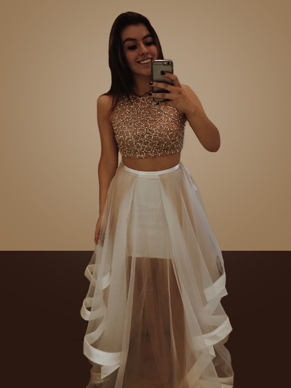 A-Line/Princess Halter Floor-Length Organza Two Piece Dresses with Beading