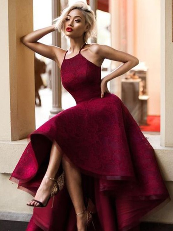 A-Line/Princess Jewel Asymmetrical Dresses with Lace with Ruffles