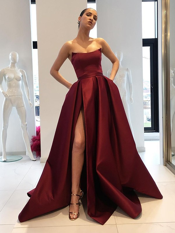 Ball Gown Strapless Sweep/Brush Train Satin Dresses with Ruffles