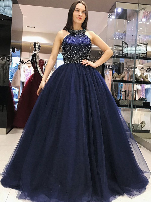 Ball Gown Halter Sweep/Brush Train Tulle Dresses with Beading