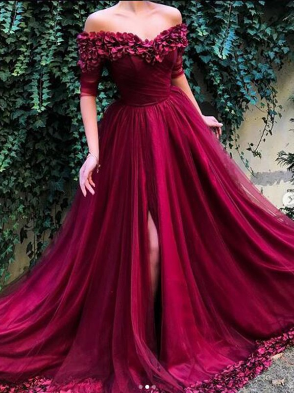 A-Line/Princess Off-the-Shoulder Sweep/Brush Train Tulle Dresses with Ruffles