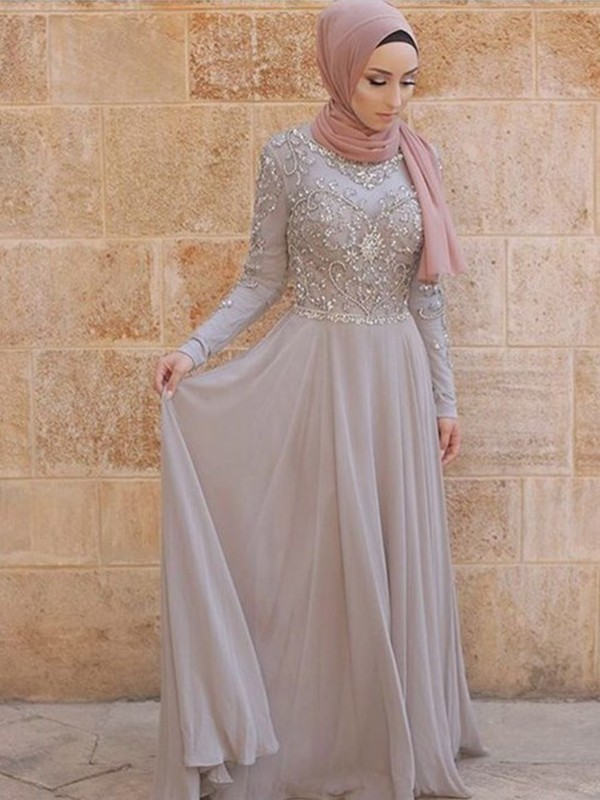 A-Line/Princess Scoop Sweep/Brush Train Tulle Muslim Dresses