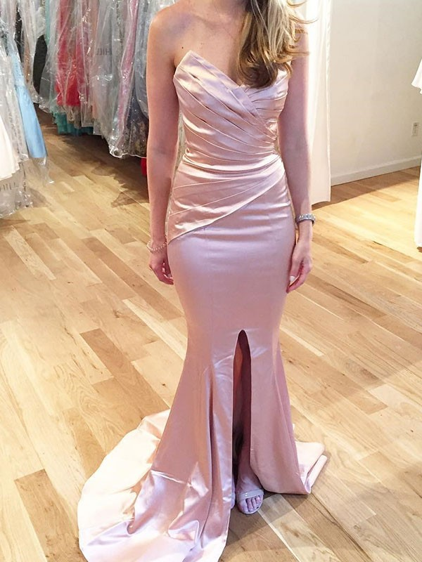 Trumpet/Mermaid Sleeveless Sweetheart Sweep/Brush Train Satin Dresses with Ruffles