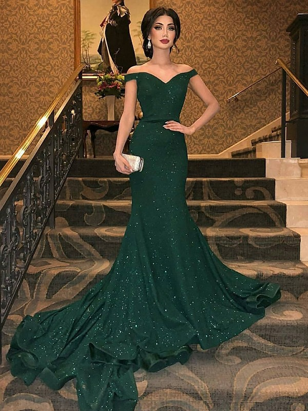 Trumpet/Mermaid Sleeveless Off-the-Shoulder Sweep/Brush Train Sequins Dresses with Ruffles