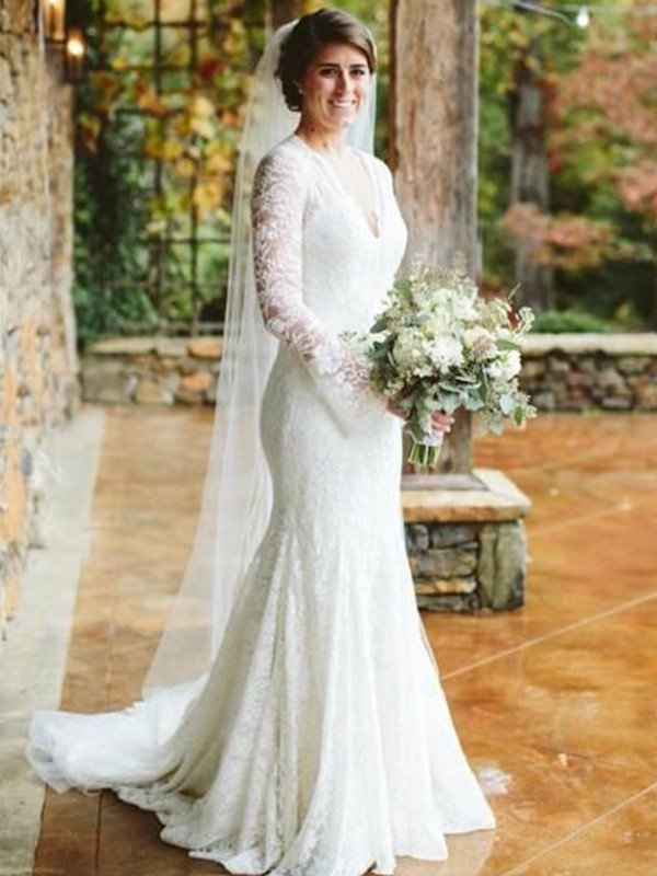 Trumpet/Mermaid V-neck Long Sleeves Sweep/Brush Train Wedding Dresses with Lace with Ruffles