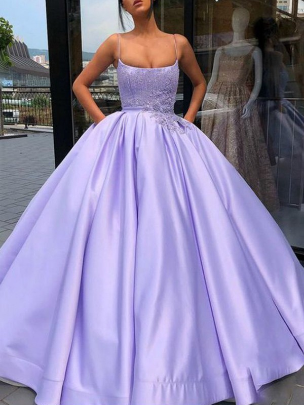 Ball Gown Satin Spaghetti Straps Sleeveless Floor-Length Dresses with Applique