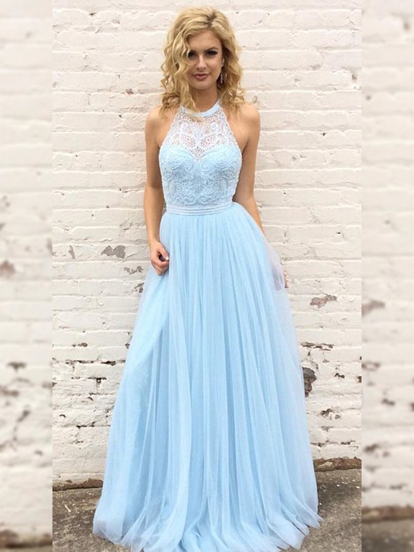 A-Line/Princess Tulle Halter Sleeveless Floor-Length Dresses with Lace