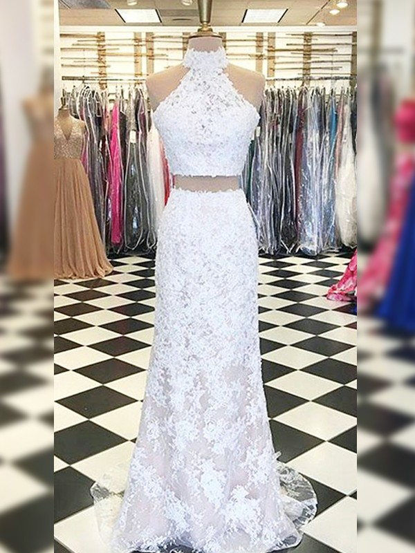 Sheath/Column Halter Sleeveless Sweep/Brush Train Two Piece Dresses with Lace with Applique