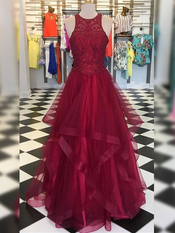 A-Line/Princess Organza Scoop Sleeveless Floor-Length Dresses with Beading