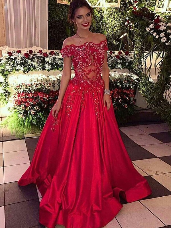 Ball Gown Off-the-Shoulder Sleeveless Sweep/Brush Train Satin Dresses with Beading
