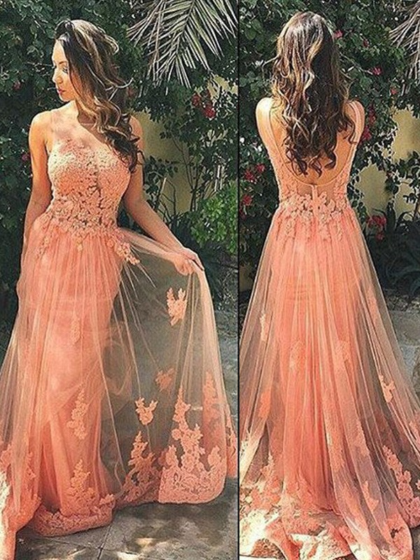 A-Line/Princess Straps Sleeveless Tulle Sweep/Brush Train Dresses with Applique