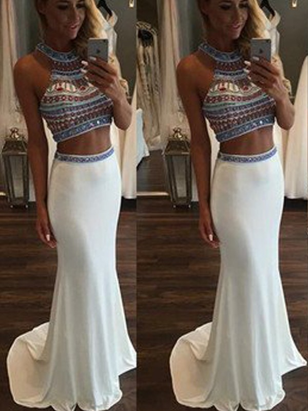 Trumpet/Mermaid Sleeveless Halter Sweep/Brush Train Chiffon Two Piece Dresses with Beading
