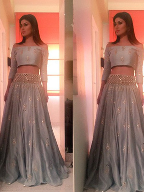 A-Line/Princess Off-the-Shoulder 3/4 Sleeves Floor-Length Satin Two Piece Dresses with Beading