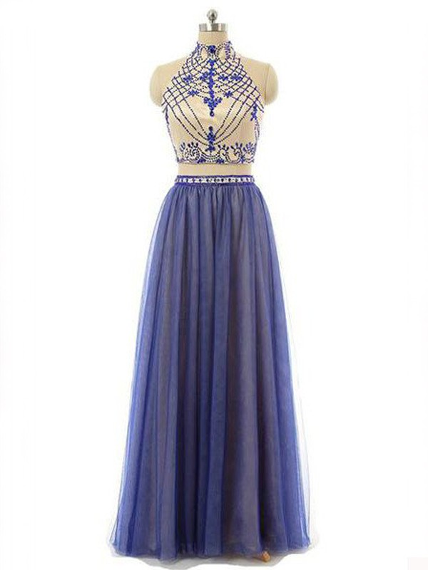 A-Line/Princess Sleeveless High Neck Chiffon Floor-Length Two Piece Dresses with Beading