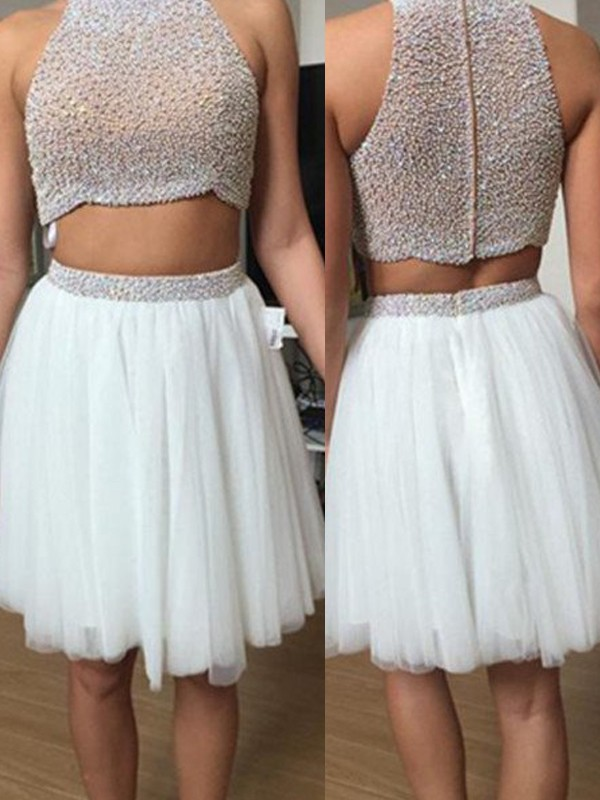A-Line/Princess Sleeveless High Neck Tulle Short/Mini Two Piece Dresses with Beading