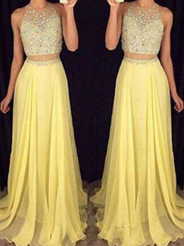 A-Line/Princess Scoop Sleeveless Sweep/Brush Train Chiffon Two Piece Dresses with Beading